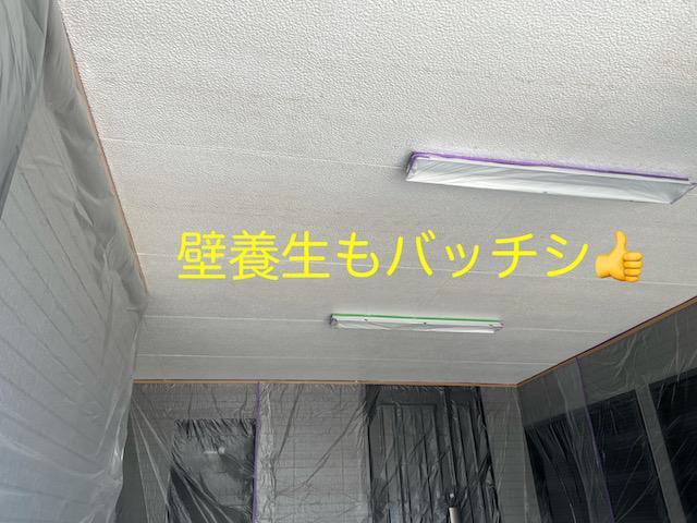 ガレージ天井壁養生