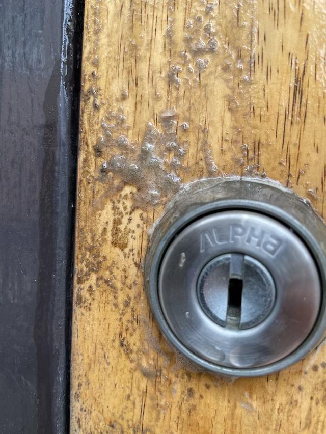 玄関ドア 塗膜剥がし
